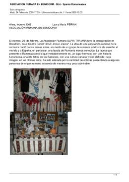 ASOCIACION RUMANA EN BENIDORM - Stiri