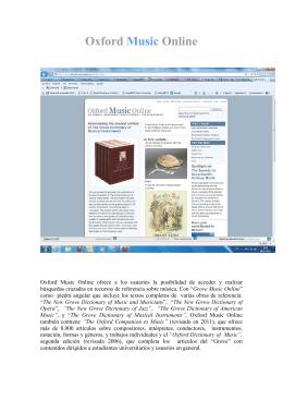 OXFORD MUSIC ONLINE - Biblioteca de la Universidad de La Rioja