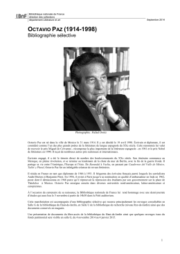 Octavio Paz - Bibliographie - Bibliothèque nationale de France