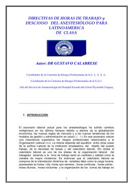 Directivas de Horas de Trabajo del Anestesiólogo para Latinoamérica