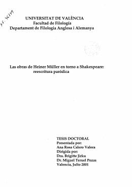 `P UNIVERSITAT DE VALENCIA Facultad de Filología Departament