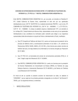 CONVENIO DE INTERCONEXION DE REDES ENTRE CTI