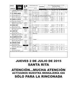aquí inscritos y retrospectos Santa Rita 02-07-2015