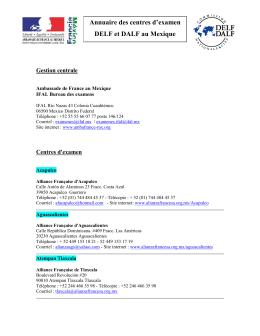 Annuaire des centres d`examen DELF et DALF au Mexique