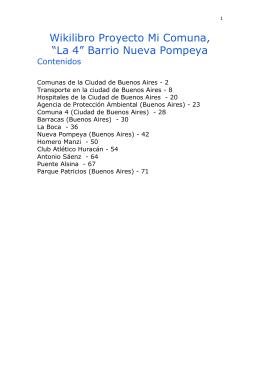 """Wikilibro Proyecto Mi Comuna, """"La 4"""" Barrio Nueva Pompeya"""