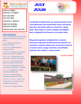 JULY JULIO - Intercultural Senior Center