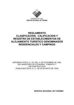 reglamento clasificacion, calificacion y registro de