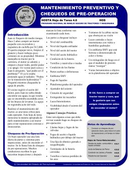 mantenimiento preventivo y chequeos de pre-operacion