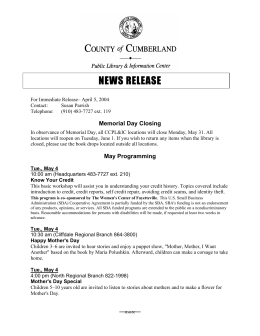 May 15 - Cumberland County