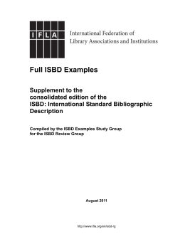 Full ISBD Examples: Supplement to the Consolidated Edition