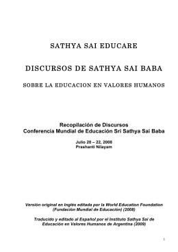 DISCURSOS DE SATHYA SAI BABA - Instituto Sathya Sai de