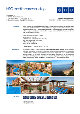 C/ Ginesta, s/n E-43840 – Salou, Tarragona T (34) 977