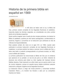 Historia de la primera biblia en español en 1569