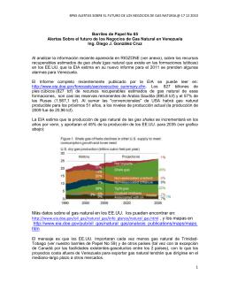 Alertas Sobre el futuro de los Negocios de Gas Natural
