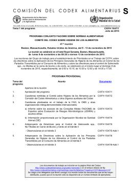 Tema 1 del programa CX/FH 15/47/1 Julio de 2015 PROGRAMA