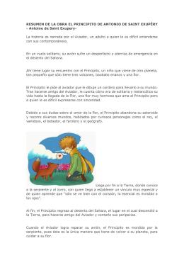 RESUMEN DE LA OBRA EL PRINCIPITO DE ANTONIO DE SAINT
