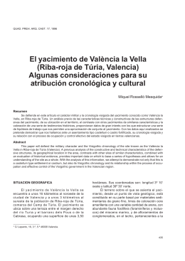 El yacimiento de València la Vella (Riba-roja de Túria - E