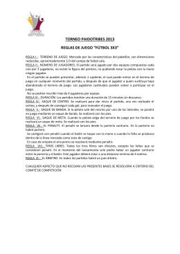 """REGLAS DE JUEGO """"FÚTBOL 3X3"""""""