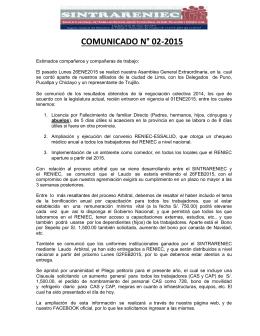 COMUNICADO N° 02-2015