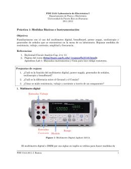 Práctica 1: Medidas Básicas e Instrumentación 1. Multímetro digital