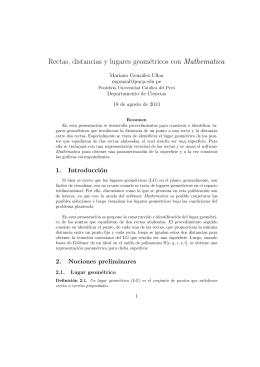 Rectas, distancias y lugares geométricos con Mathematica