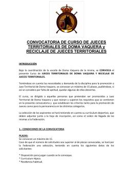 CONVOCATORIA DE CURSO DE JUECES TERRITORIALES DE