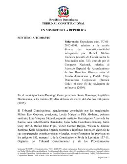 Sentencia TC 0065-15 C - Tribunal Constitucional de la