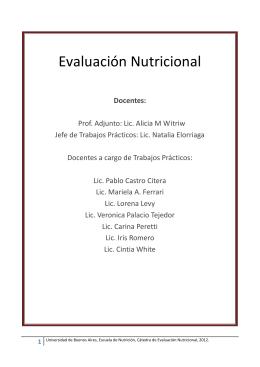 Evaluación Nutricional - Facultad de Medicina
