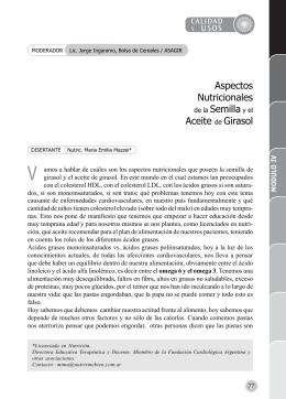 Aspectos Nutricionales de la Semilla y el Aceite de Girasol