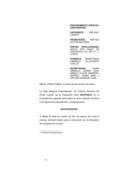 sre-psc- 135/2015. promovente - Tribunal Electoral del Poder