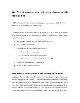 Web Proxy transparente con antivirus y chequeo de lista