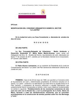 MODIFICACION CONVENIO URBANISTICO LASTRA. EXPTE 2
