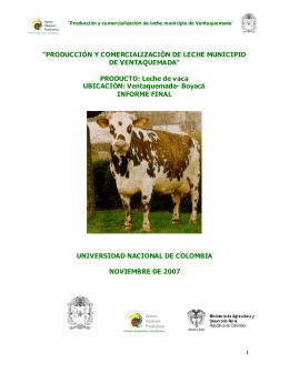 """""""PRODUCCIÓN Y COMERCIALIZACIÓN DE LECHE MUNICIPIO DE"""