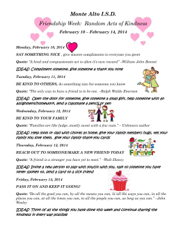 Monte Alto I.S.D. Friendship Week: Random Acts of Kindness