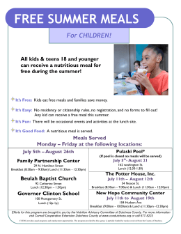 FREE SUMMER MEALS - Spackenkill Union Free School District