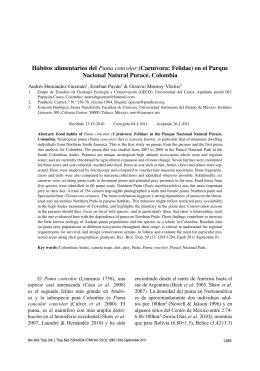 Hábitos alimentarios del Puma concolor (Carnivora: Felidae) en el