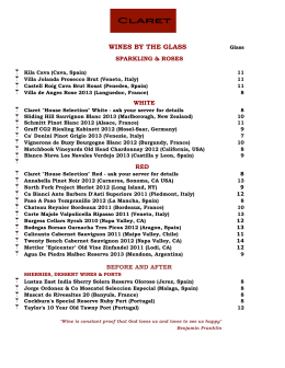 Wines by the Glass – Fall & Winter 2014