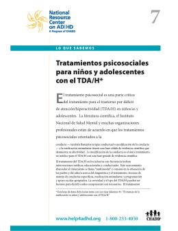 Tratamientos psicosociales para niños y adolescentes con el TDa/H