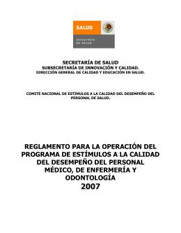 reglamento para la operación del programa de estímulos a la