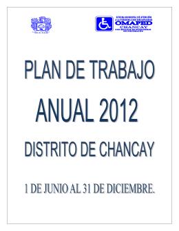 plan de trabajo 2012 - Municipalidad Distrital de Chancay