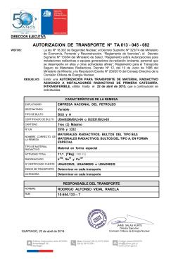 autorizacion de transporte nº ta 013 - 045 - 082