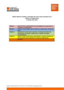 Máster Oficial en modelos y estrategias de acción social y educativa