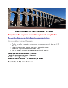 SPANISH 12 SUBSTANTIVE ASSIGNMENT BOOKLET The