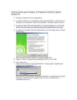 Instrucciones para Instalar el Programa Herbario Qpalm Pocket PC .