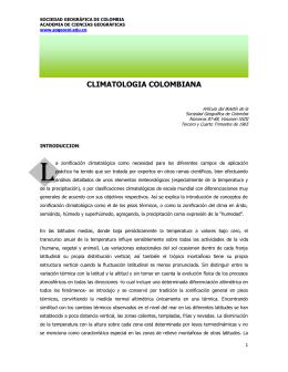 Climatología Colombiana - Sociedad Geográfica de Colombia