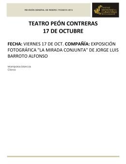 teatro peón contreras 17 de octubre fecha