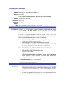 Tarifas Establecidas Telefonia Movil Empresa: ENTEL PERÚ S.A.