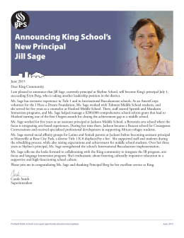 Announcing King School`s New Principal Jill Sage