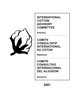Directory - ICAC. International Cotton Advisory Committee