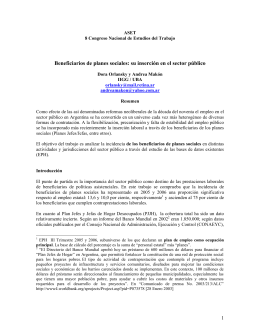 Beneficiarios de planes sociales: su inserción en el sector público